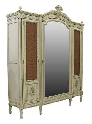 FRENCH LOUIS XVI STYLE PAINTED MIRRORED ARMOIRE