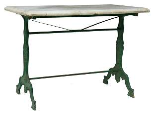 FRENCH MARBLE-TOP CAST IRON BISTRO TABLE