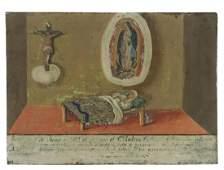 RELIGIOUS EX-VOTO VIRGEN DE GUADALUPE, SICK BED