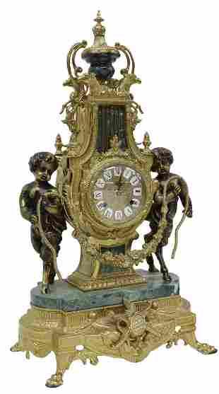 LOUIS XVI STYLE GILT METAL SATYR MANTEL CLOCK