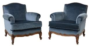 (2) FRENCH LOUIS XV STYLE MOHAIR ARMCHAIRS