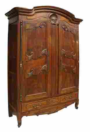 MONUMENTAL FRENCH PROVINCIAL CARVED WALNUT ARMOIRE