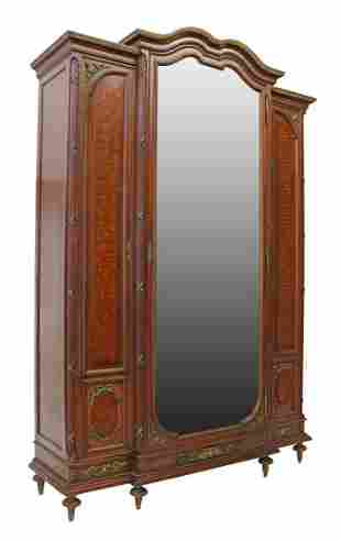 FRENCH LOUIS XVI STYLE MAHOGANY MIRRORED ARMOIRE