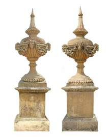 "2) LARGE CAST STONE GARDEN STATUARY URNS, 91""H"