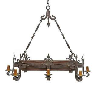 FRENCH GOTHIC REVIVAL 8-LT WROUGHT IRON CHANDELIER