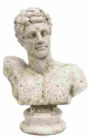 GLAZED CRACKLE CERAMIC BUST OF HERMES