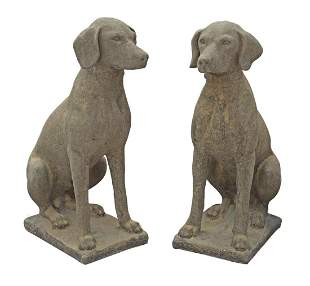 (2) CAST STONE GARDEN STATUARY, HUNTING DOGS