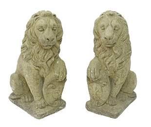 (2) CAST STONE SEATED LIONS FLEUR-DE-LIS SHIELDS