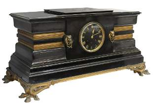LARGE FRENCH SLATE-CASED MANTEL CLOCK
