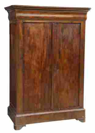 FRENCH LOUIS PHILIPPE PERIOD WALNUT ARMOIRE