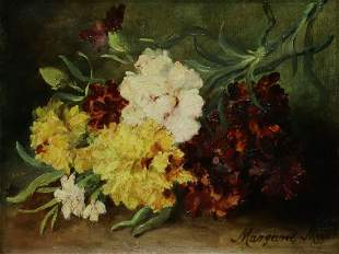 MARGARET MEYER PAINTING STILL LIFE WITH FLOWERS