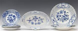 (7) MEISSEN BLUE ONION RETICULATED PORCELAIN