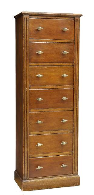 SPANISH OAK SIDE-LOCK TALL CHEST OF DRAWERS