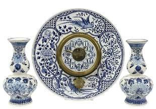 (3) BLUE & WHITE WALL CLOCK & DELFT VASES
