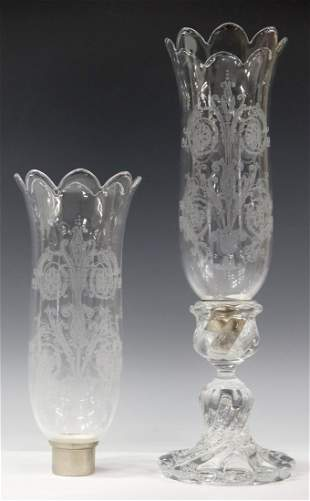 FRENCH BACCARAT ETCHED CRYSTAL HURRICANE LAMP & SHADES