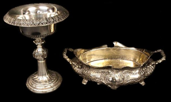 (2) SILVER PLATE CENTER PIECE & PEDESTAL BOWL