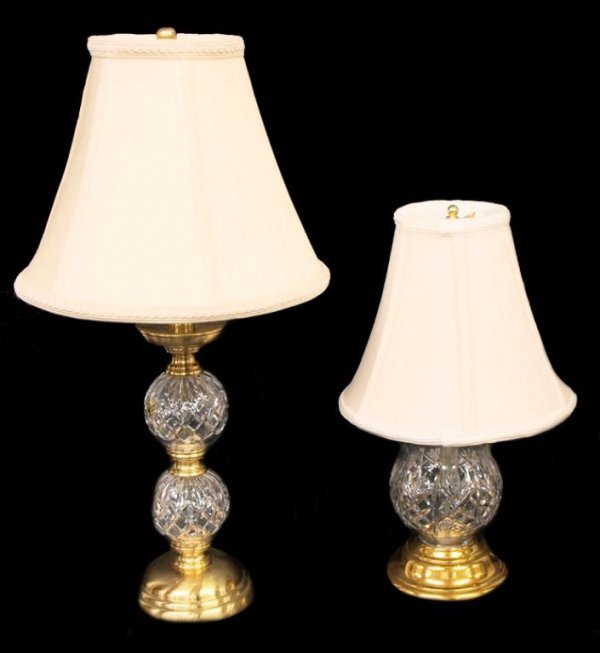 (2) WATERFORD CUT CRYSTAL TABLE LAMPS, LISMORE