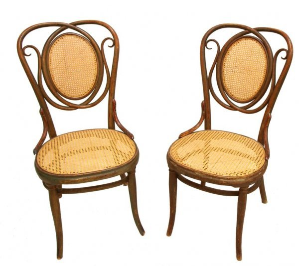PAIR ANTIQUE THONET AUSTRIA BENTWOOD SIDE CHAIRS