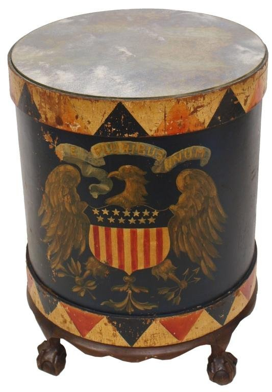 PAINTED DRUM FORM SIDE TABLE, EAGLE & STARS