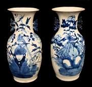 LARGE CHINESE EXPORT BLUE & WHITE PORCELAIN VASES