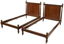 PAIR FRENCH EMPIRE STYLE WALNUT BEDS