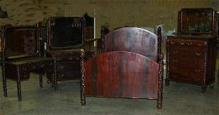 4 PC. MAHOGANY FINSISH BEDROOM SUITE. W/FU