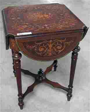 SMALL DROP SIDE PARLOR TABLE WITH INLAY