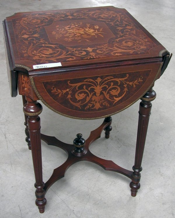 6: SMALL DROP SIDE PARLOR TABLE  WITH INLAY