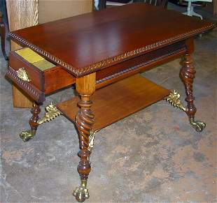 CHERRY WOOD GRIFFIN TABLE WITH DRAWER