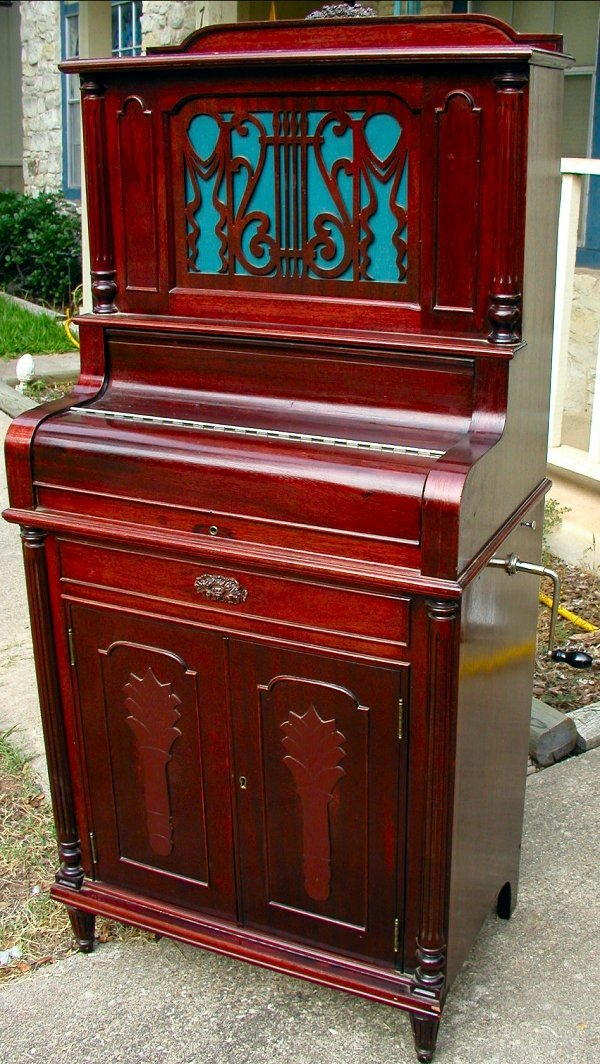 11: ANTIQUE  PHONOGRAPH IN THE FORM OF PIANO