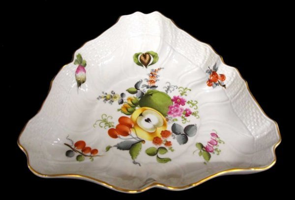 3: HEREND HUNGARY PORCELAIN BOWL & RETICULATED DISH - 2