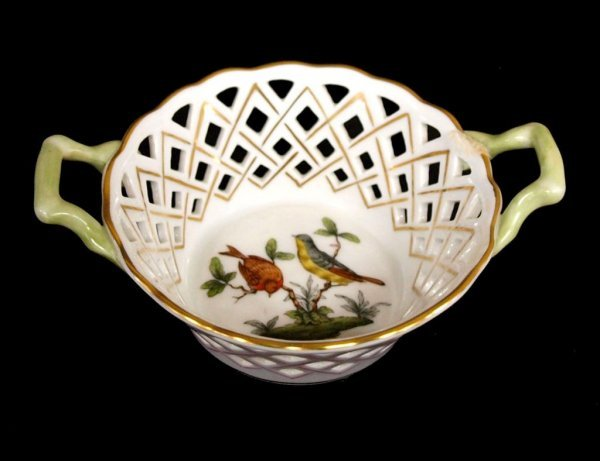 3: HEREND HUNGARY PORCELAIN BOWL & RETICULATED DISH - 5
