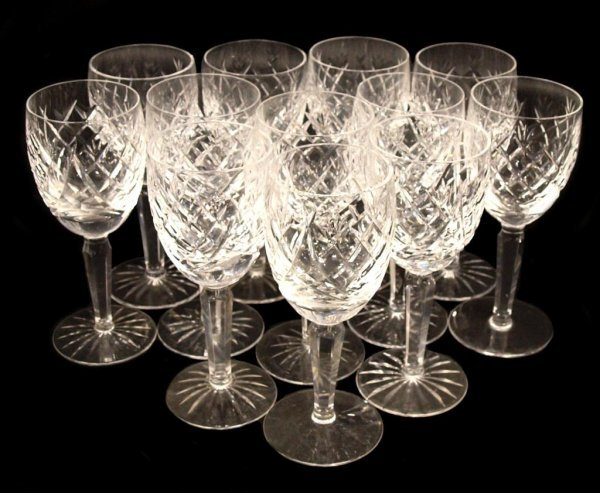8: (12) WATERFORD CUT CRYSTAL WHITE WINE GOBLETS