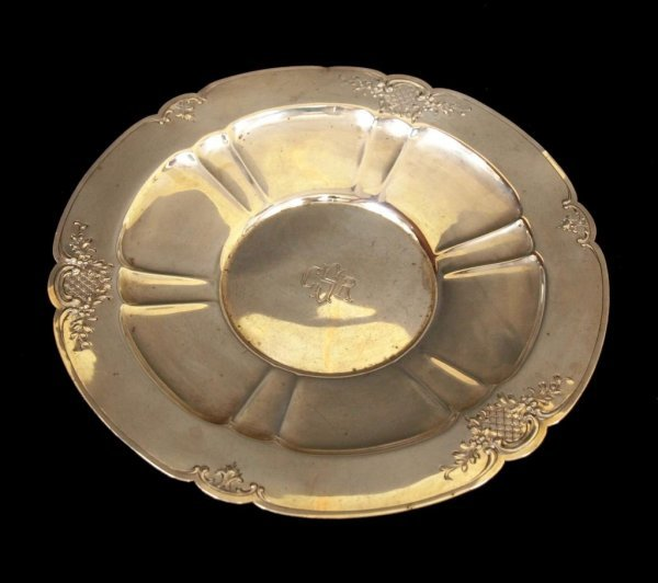 19: STERLING SILVER FLORAL DECORATED LOW BOWL