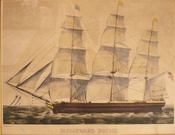 "21: CURRIER & IVES CHROMO-LITHOGRAPGH ""HOMEWARD BOUND"""