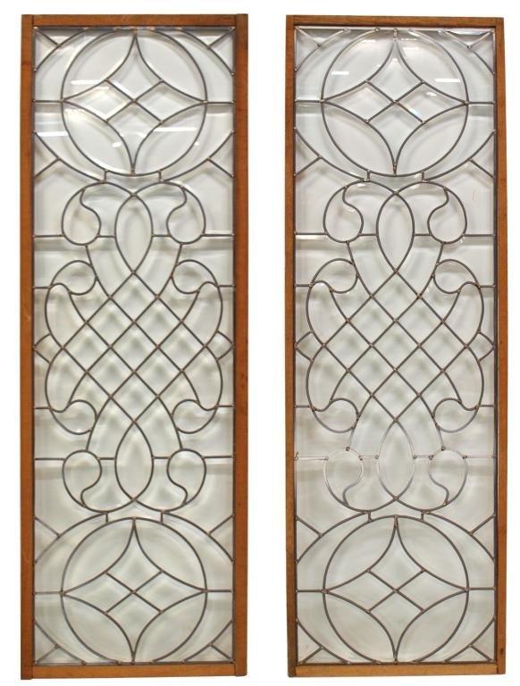 22: PAIR OF RECTANGULAR BEVELED LEADED GLASS PANELS