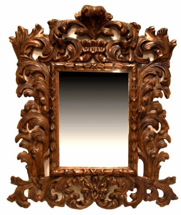 23: LARGE BAROQUE STYLE CARVED WOOD WALL MIRROR