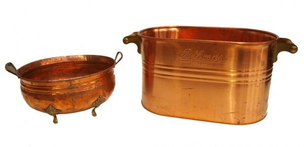 85: (2) LARGE COPPER BEHRENS MFG CO. BASIN & A PLANTER