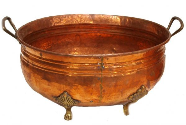 85: (2) LARGE COPPER BEHRENS MFG CO. BASIN & A PLANTER - 3