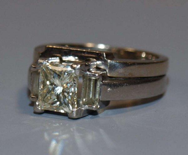 226: PLATINUM & 2 CT PRINCESS CUT DIAMOND WEDDING SET