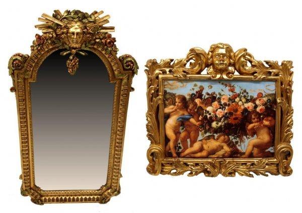358: LOUIS XIV STYLE FIGURAL MIRROR & GILT CHERUB FRAME