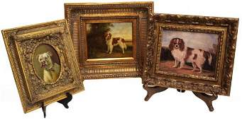 364: (3) ORNATELY FRAMED ANTIQUE STYLE PAINTINGS, DOGS