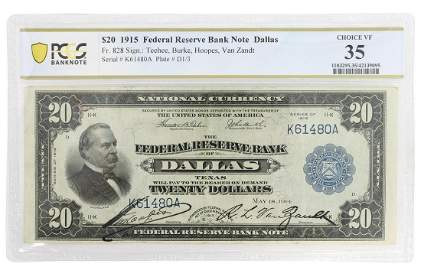 SCARCE 1915 CLEVELAND $20 NOTE, FR828, PCGS VF35