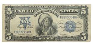 US 1899 SILVER CERTIFICATE $5 INDIAN CHIEF ONCPAPA