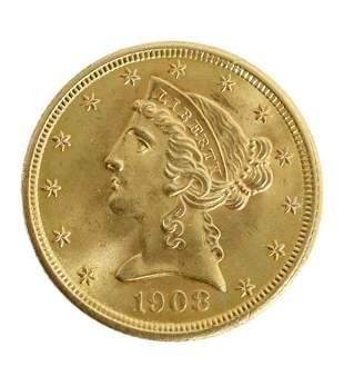 US 1908 $5 GOLD LIBERTY HALF EAGLE COIN, EST.AU-55