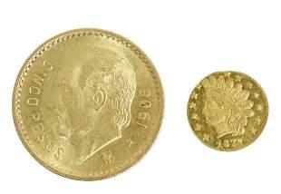 (2) CALIFORNIA 1872 GOLD 1/4 DOLLAR & MEXICO GOLD