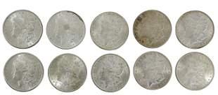 (10) U.S. UNCIRCULATED MORGAN SILVER DOLLARS