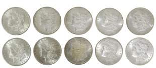10) US 1902 'O' UNCIRCULATED MORGAN SILVER DOLLARS