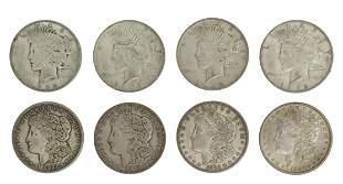 (8) U.S. MORGAN & PEACE SILVER DOLLARS