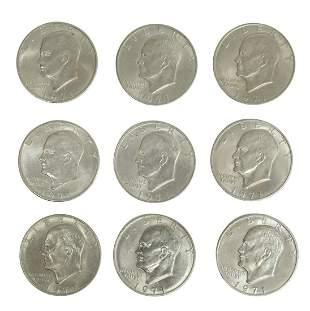 (9) U.S. 1971D EISENHOWER DOLLARS